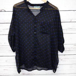Pleione polka dot blouse sheer shirt flowy black